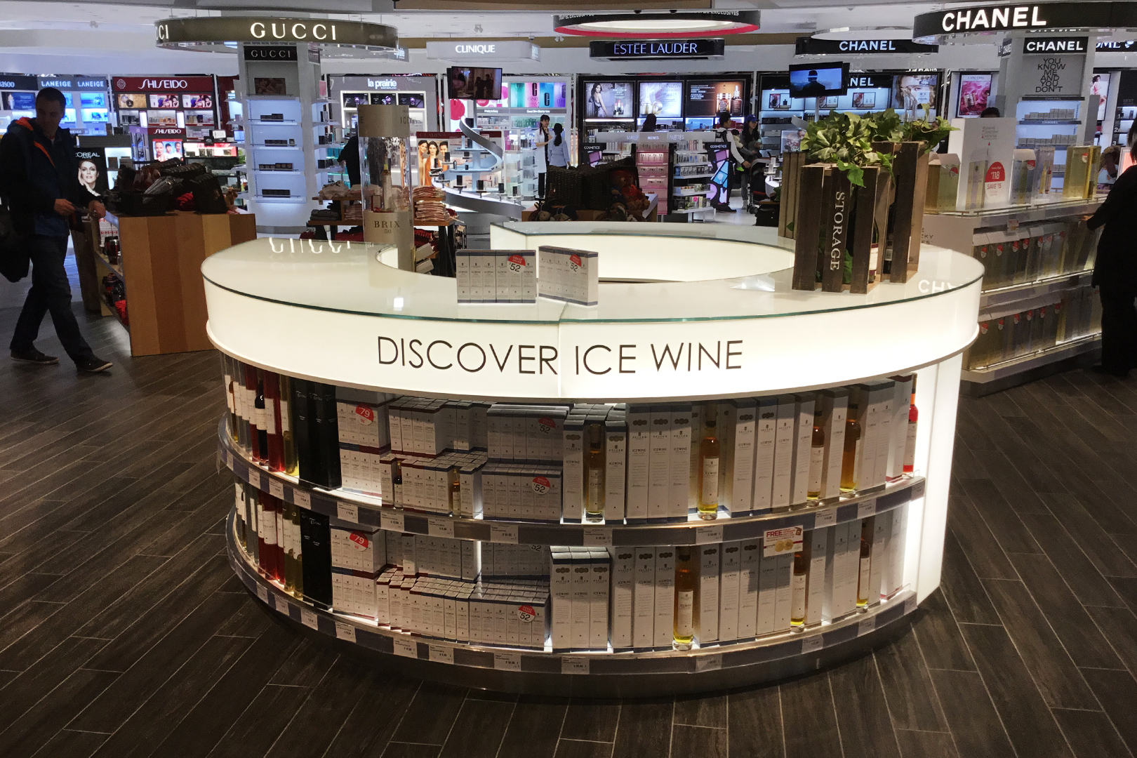 High end retail free standing wine fixture.