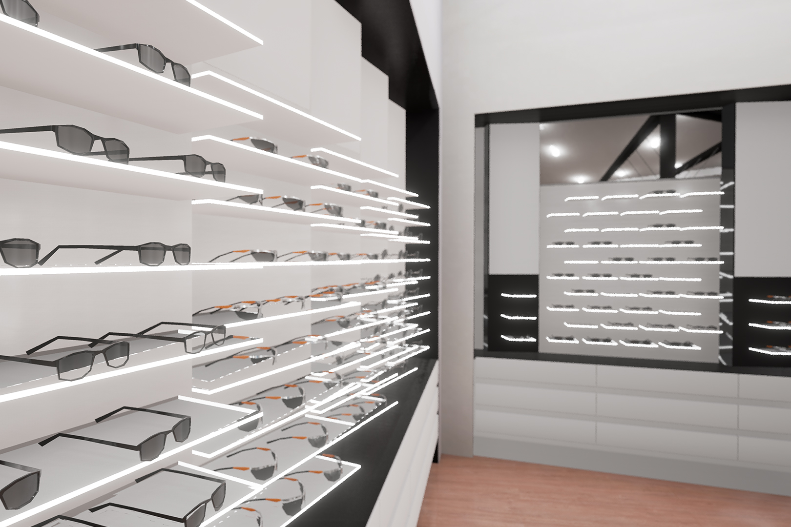 5th and sunset VR walkthrough screenshot, luxury sunglass display