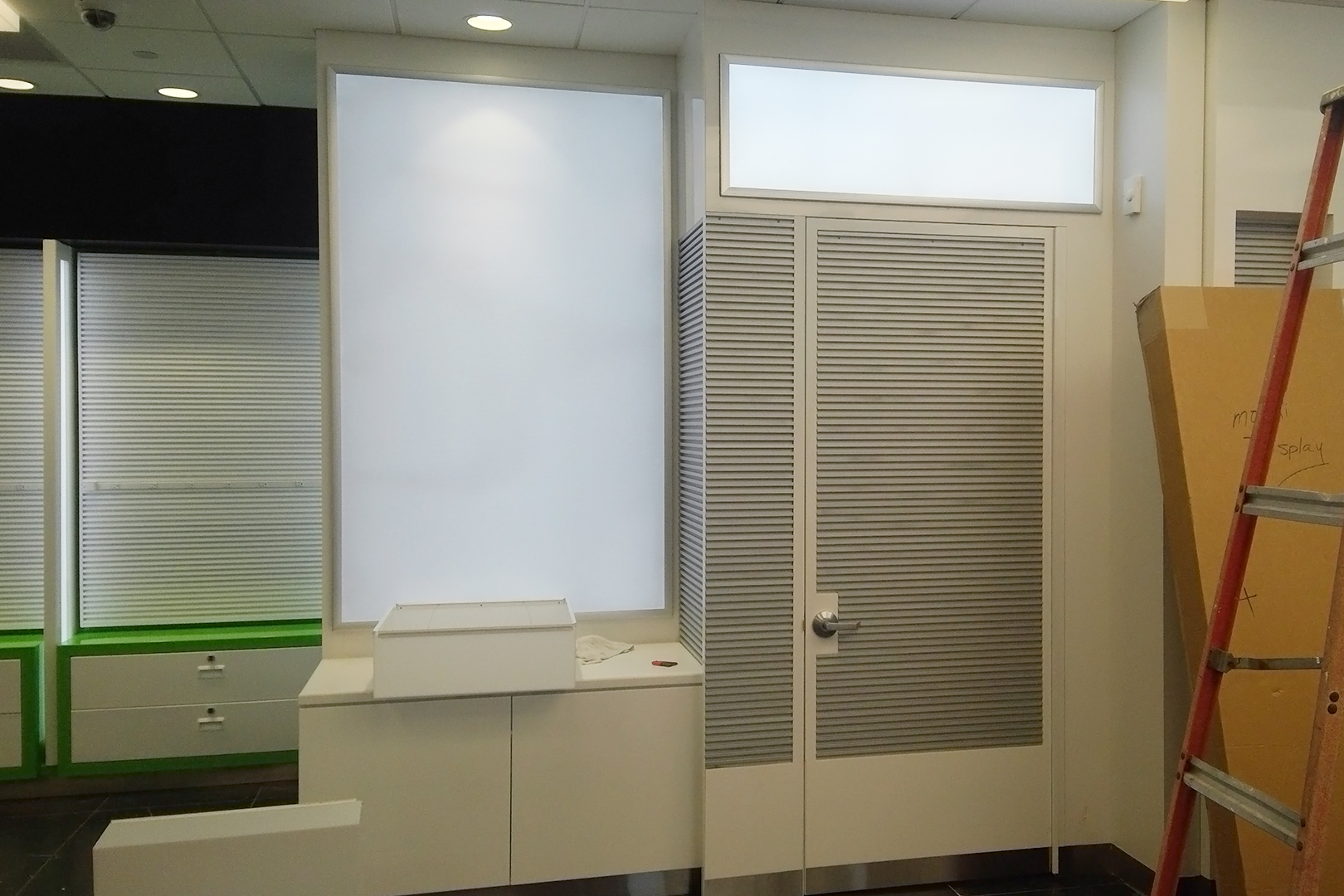 Tech on the go wall fixtures and utility closet.