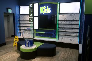 Skechers athletic apparel displays kids wall section
