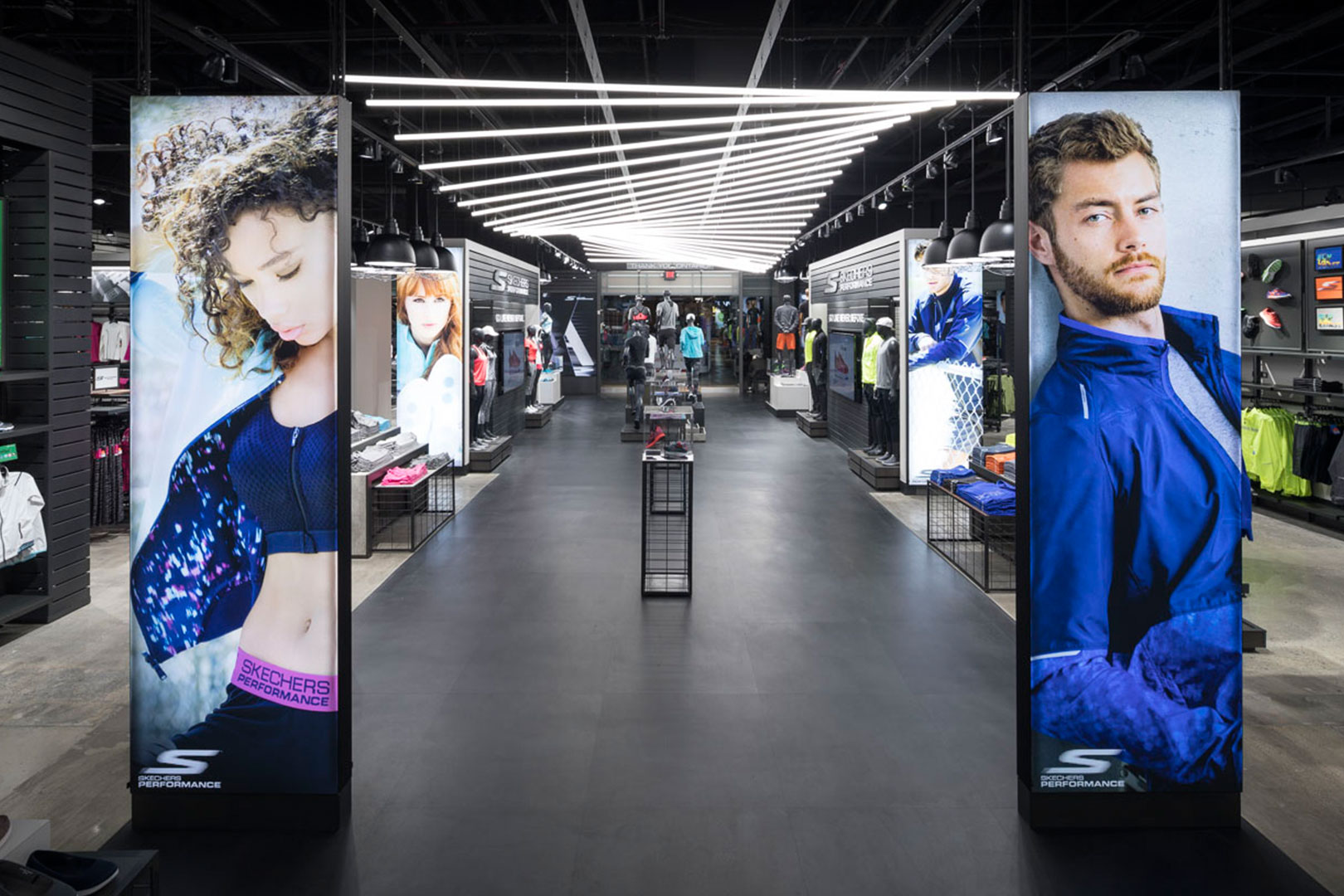 Skechers athletic apparel displays down the aisle