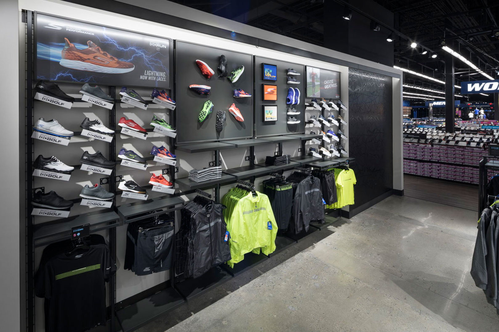 Skechers athletic apparel wall displays